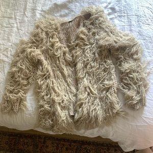 Free People Faithful Shaggy Cardigan Jacket Knit